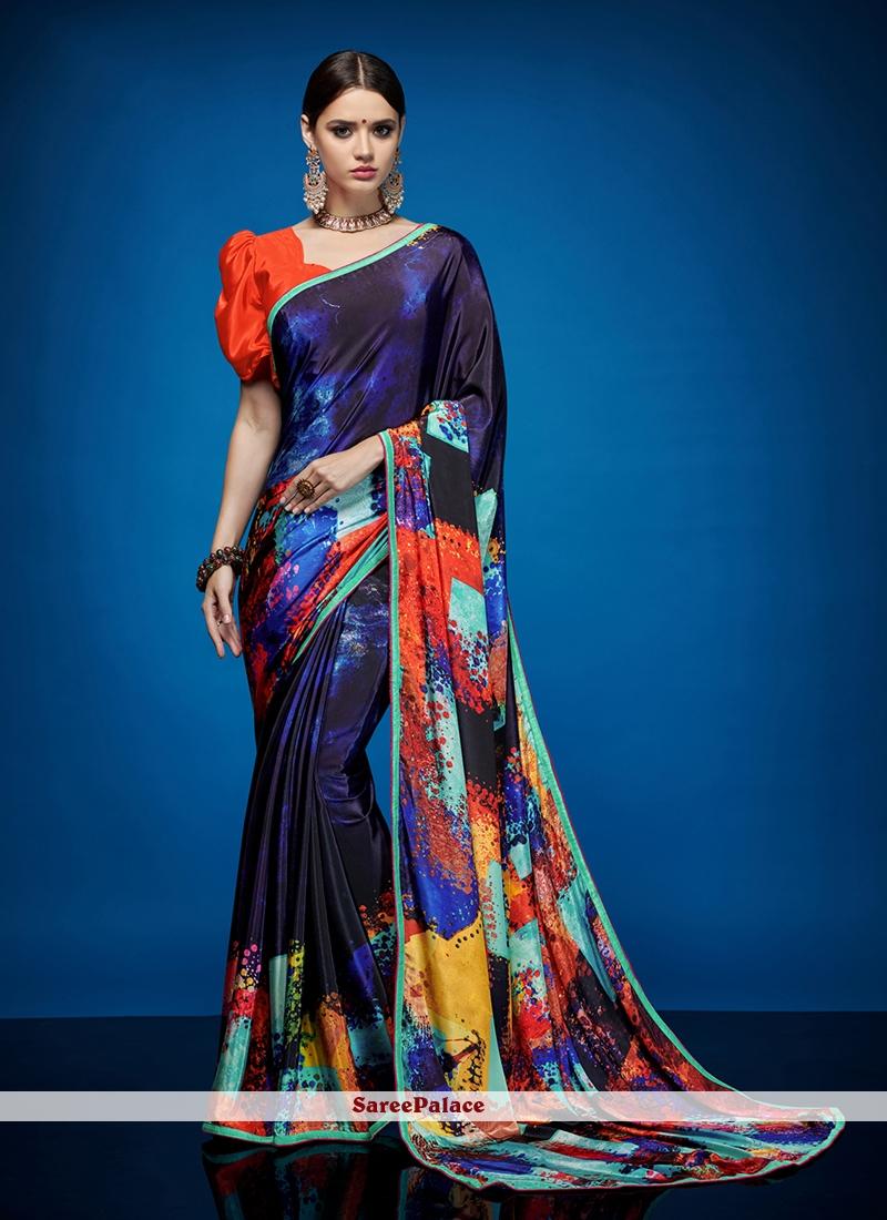 Abstract Print Crepe Silk Multi Colour Casual Saree