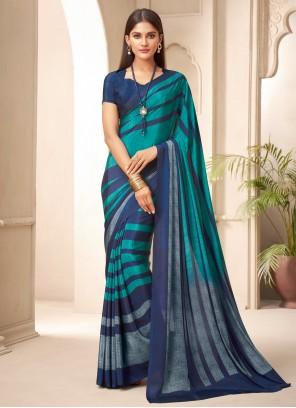 Abstract Print Crepe Silk Multi Colour Traditional Saree