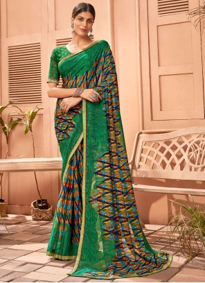 Abstract Print Fancy Fabric Saree in Multi Colour