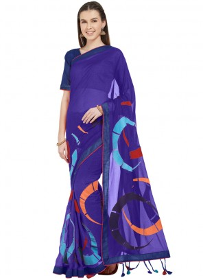 Abstract Print Faux Chiffon Printed Saree in Blue