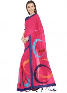 Abstract Print Faux Chiffon Printed Saree in Hot Pink