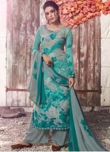 Abstract Print Faux Crepe Designer Pakistani Suit in Multi Colour
