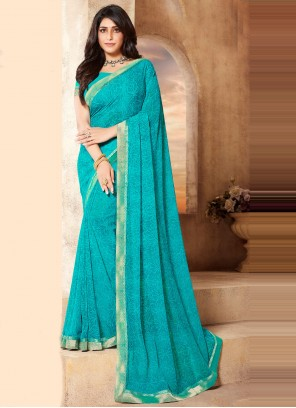Abstract Print Faux Georgette Blue Classic Saree