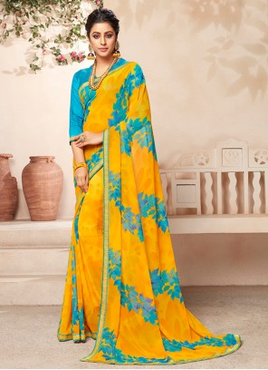 Abstract Print Yellow Faux Georgette Casual Saree