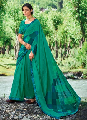 Abstract Print Faux Georgette Casual Saree in Green