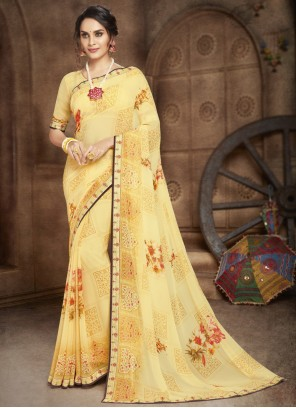 Abstract Print Faux Georgette Casual Saree in Yellow