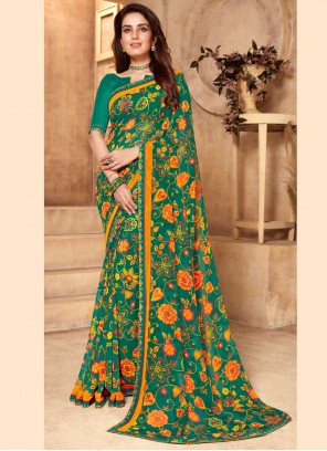 Abstract Print Green Faux Georgette Classic Saree