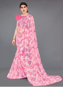Abstract Print Faux Georgette Off White and Pink Printed Saree