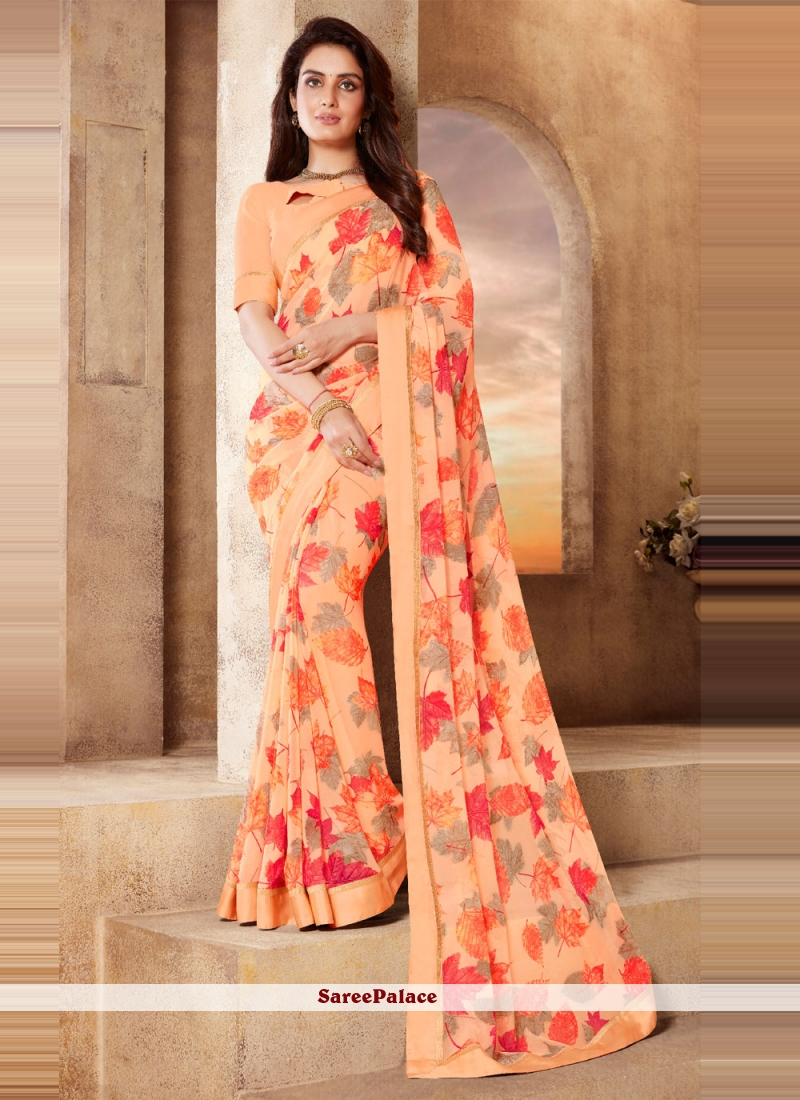 Abstract Print Faux Georgette Peach Classic Saree
