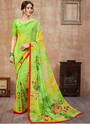 Abstract Print Faux Georgette Green Saree