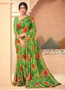 Abstract Print Faux Georgette Saree