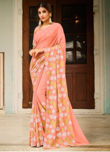 Abstract Print Faux Georgette Peach Saree