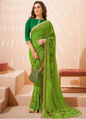 Abstract Print Faux Georgette Saree in Green