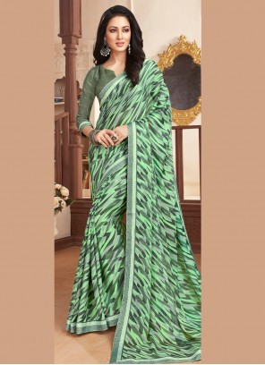 Abstract Print Faux Georgette Sea Green Printed Saree