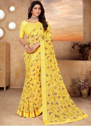 Abstract Print Faux Georgette Yellow Classic Saree