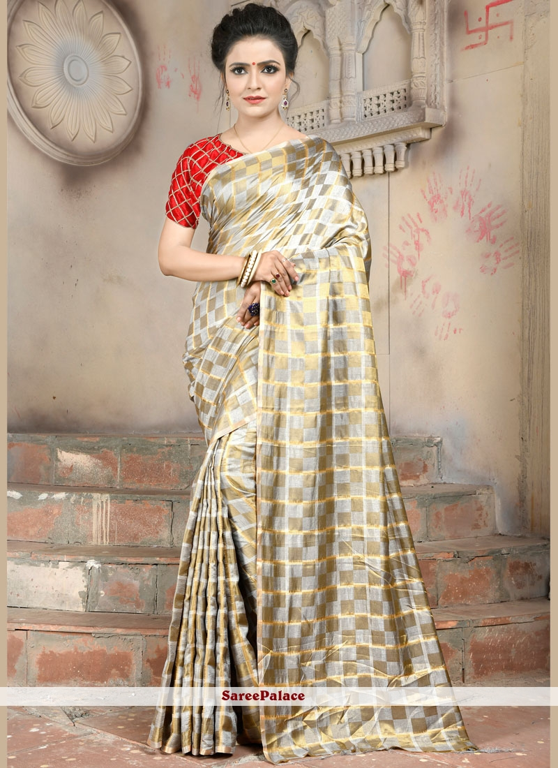 Abstract Print Gold and Silver Trendy Saree