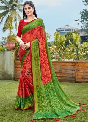 Abstract Print Green and Red Chiffon Saree