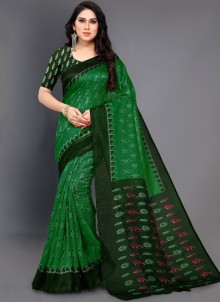 Abstract Print Green Casual Saree