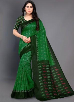 Abstract Print Green Casual Saree