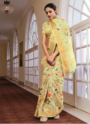 Abstract Print Green Linen Printed Saree