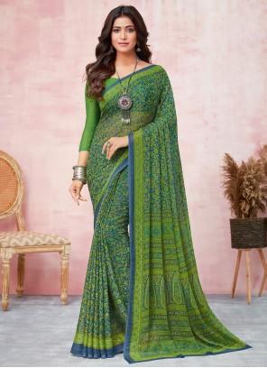 Abstract Print Green Saree