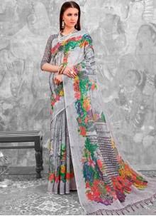 Multi Colour Abstract Print Linen Printed Saree