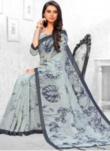 Abstract Print Linen Saree