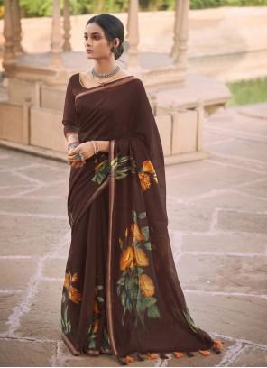 Abstract Print Multi Colour Linen Printed Saree