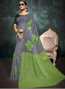 Abstract Print Linen Printed Saree in Grey and Sea Green