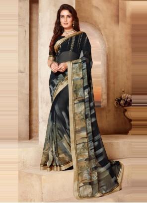 Abstract Print Multi Colour Classic Saree
