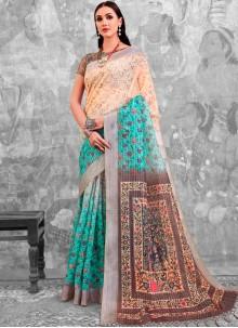 Abstract Print Multi Colour Cotton Printed Saree