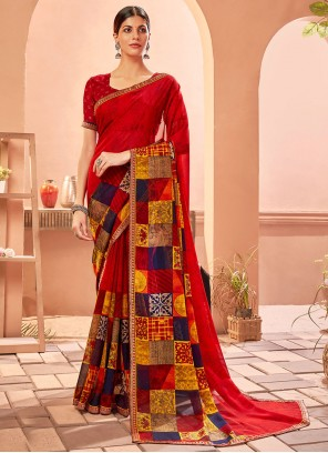 Abstract Print Multi Colour Fancy Fabric Saree
