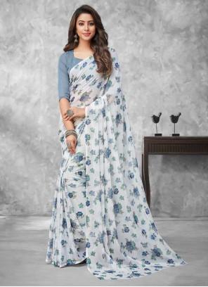 Abstract Print Multi Colour Faux Chiffon Traditional Saree