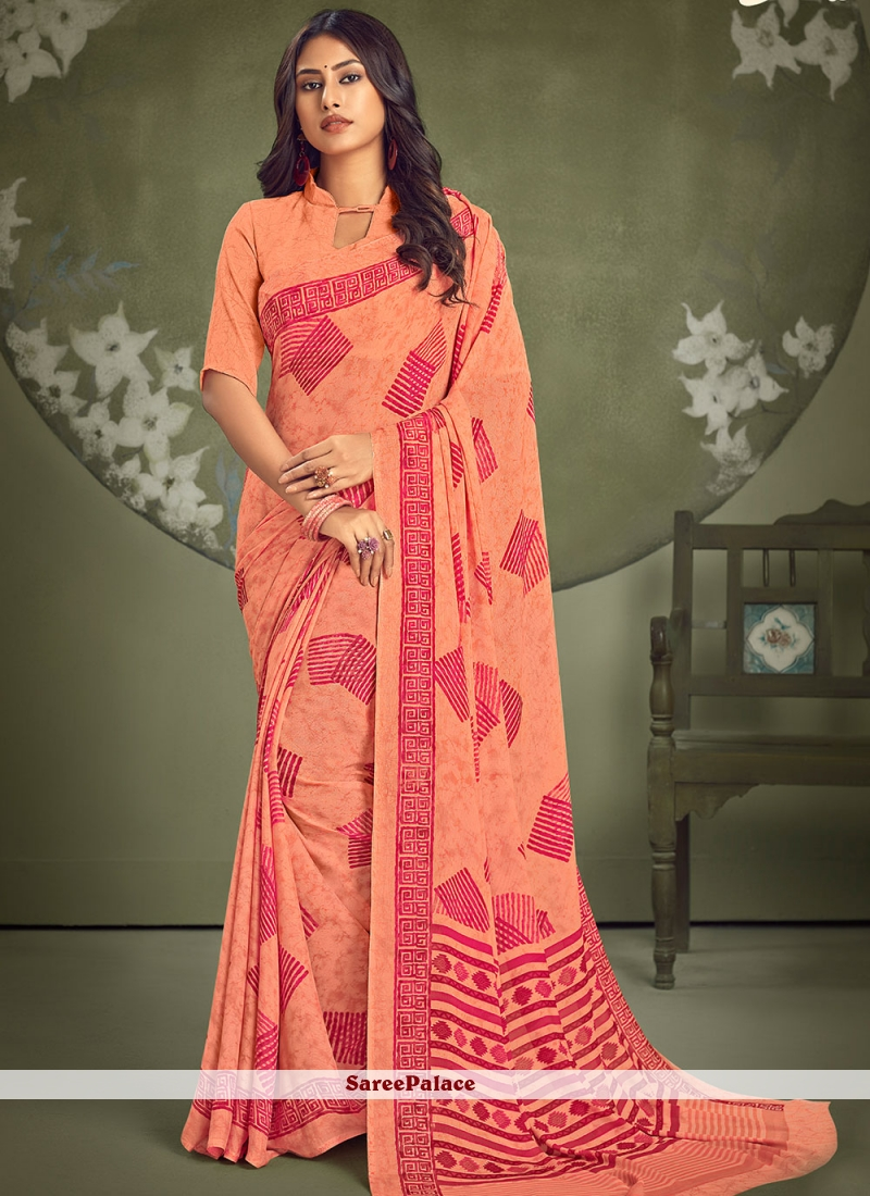 Abstract Print Multi Colour Faux Georgette Casual Saree