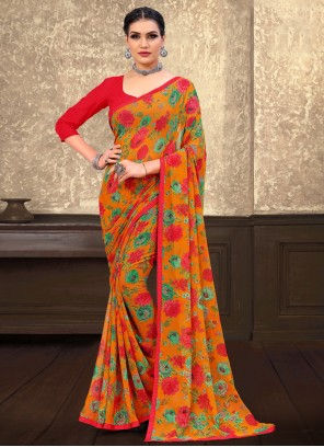 Abstract Print Multi Colour Faux Georgette Saree