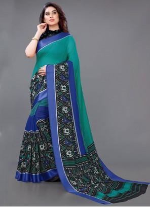 Abstract Print Multi Colour Cotton Saree