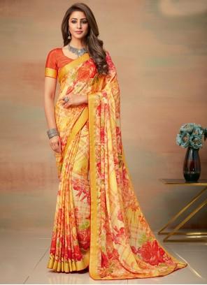 Abstract Print Multi Colour Saree