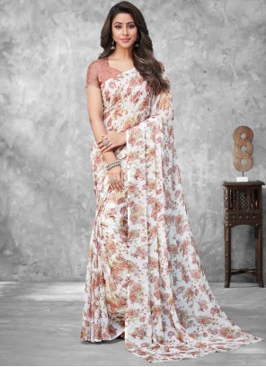 Abstract Print Multi Colour Traditional Saree