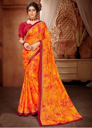 Abstract Print Orange Faux Georgette Saree