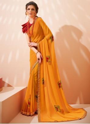 Abstract Print Georgette Orange Saree