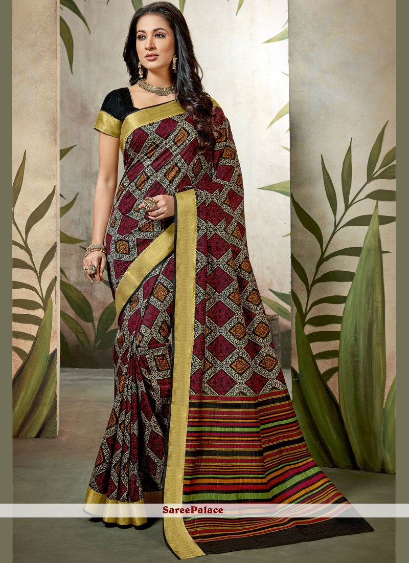 Multi Colour Abstract Print Party Wear Saree