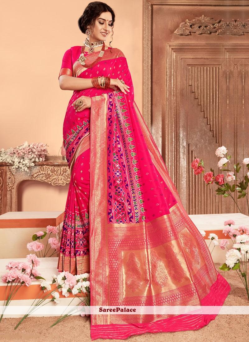 424a8f3faeea7 Buy Hot Pink Weaving Zari Patola Silk Classic Saree Online
