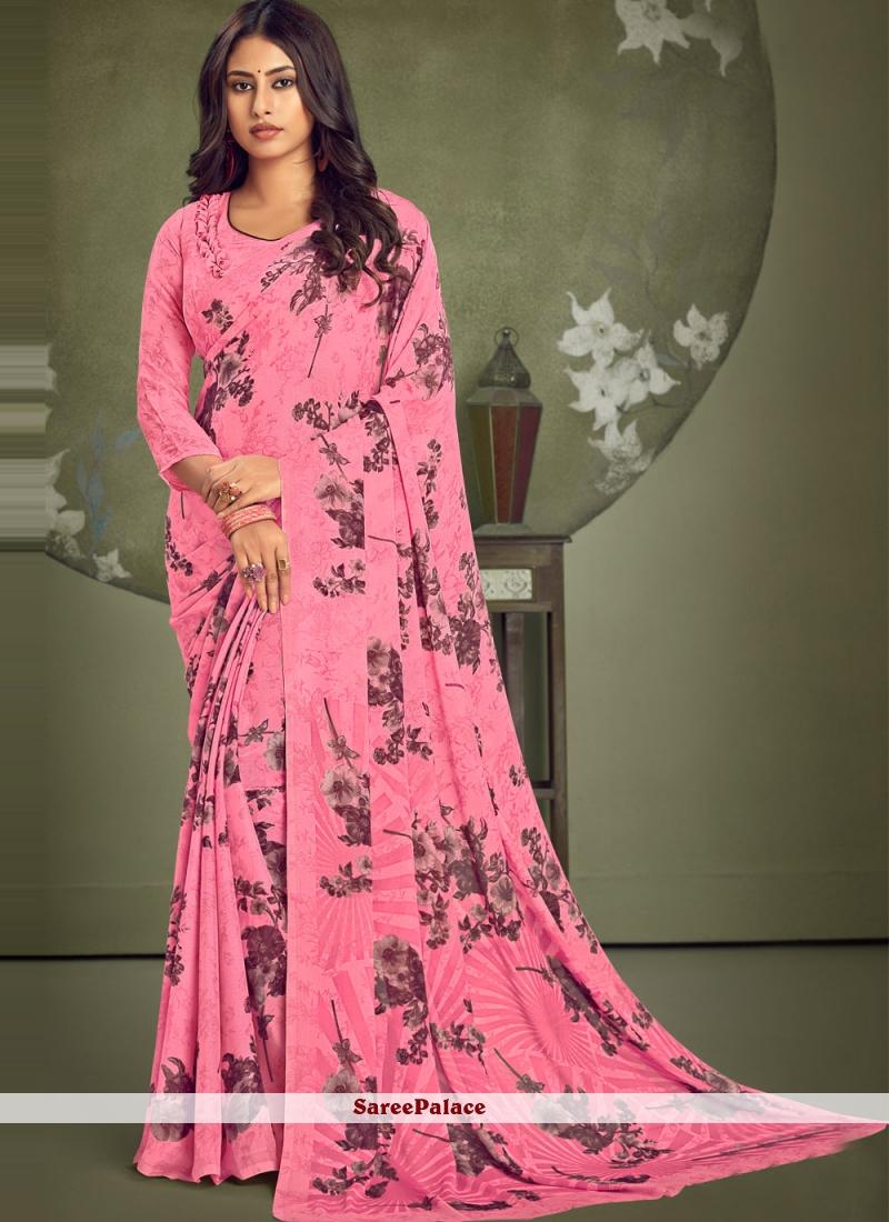 Abstract Print Pink Casual Saree