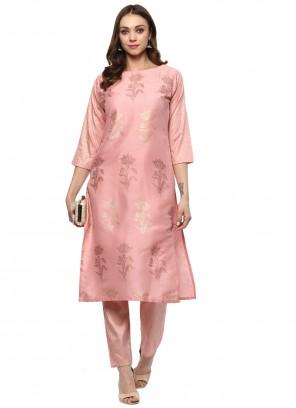 Abstract Print Poly Silk Designer Kurti in Pink