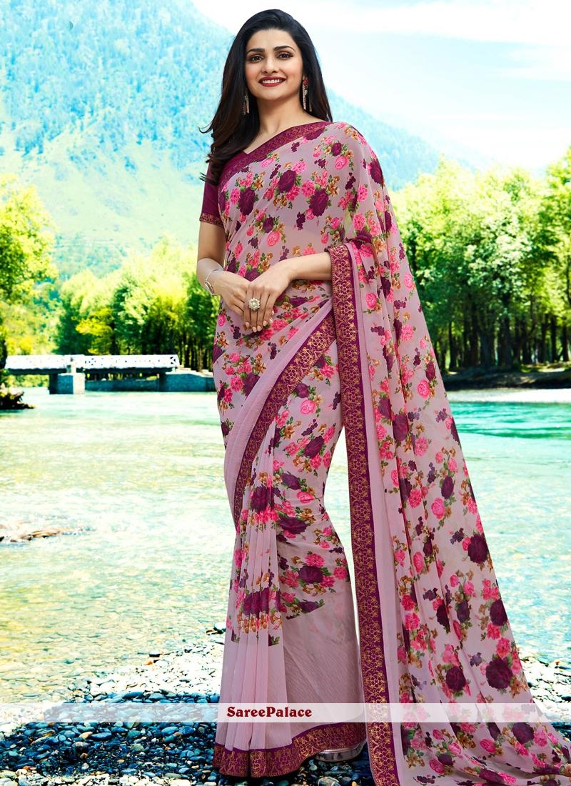 Abstract Print Prachi Desai Faux Georgette Printed Saree