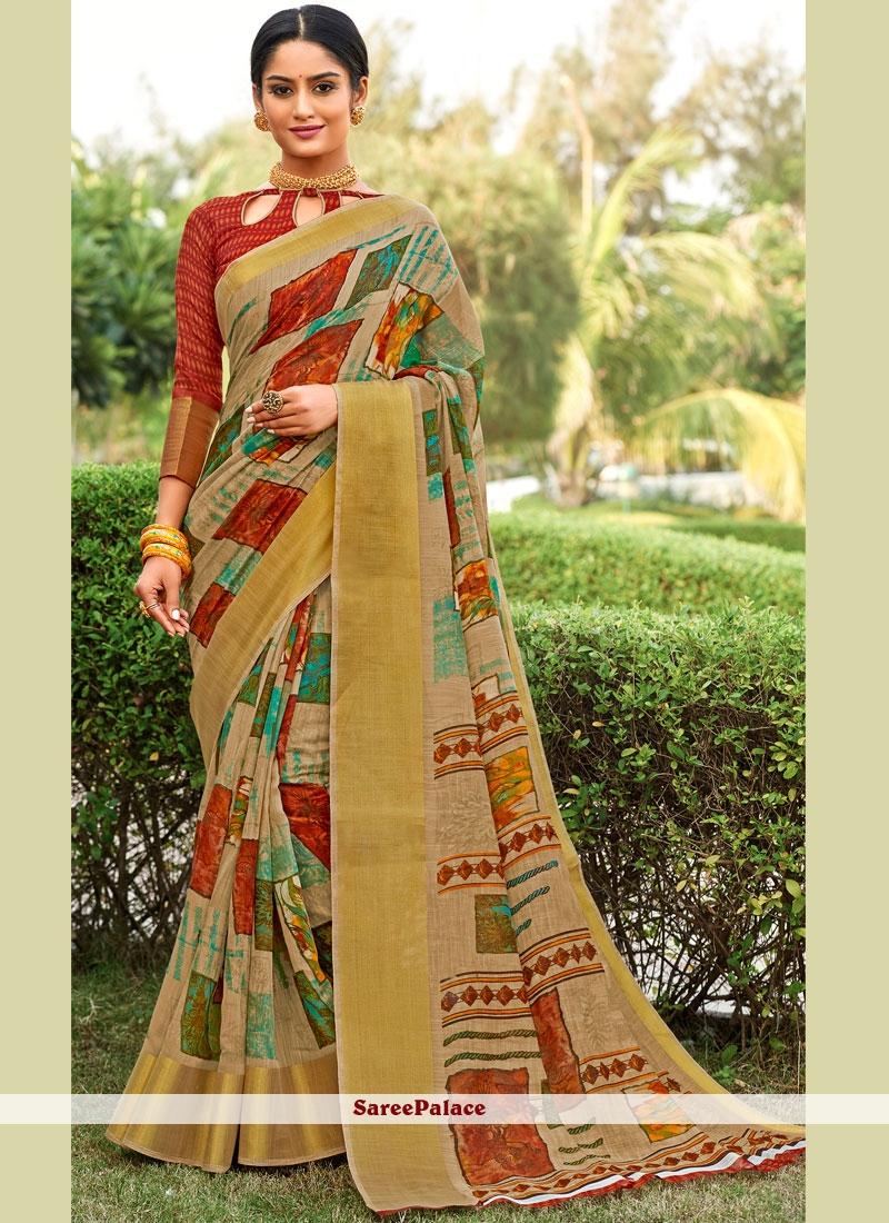 Multi Colour Cotton Abstract Print Saree