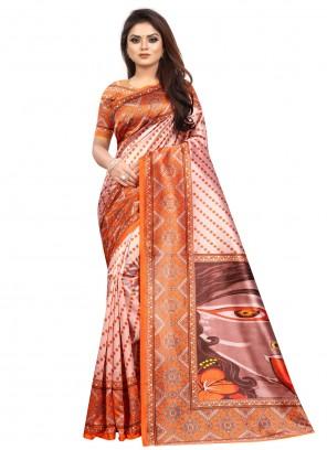 Abstract Multi Colour Printed Saree