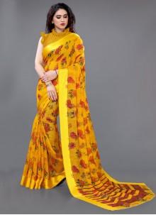 Yellow Abstract Print Cotton Saree