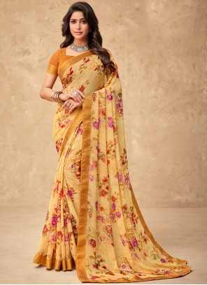 Faux Georgette Orange Abstract Print Saree