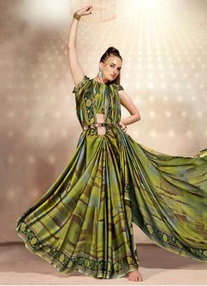 Green Abstract Printed Faux Chiffon Saree